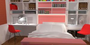 Visualisation d'un aménagement menuisé pour une chambre
