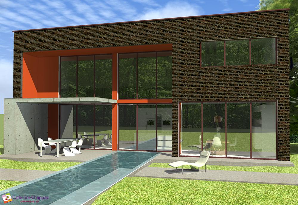 Projet 3d d 39 une maison de campagne en vend e graphisme for Projet 3d maison