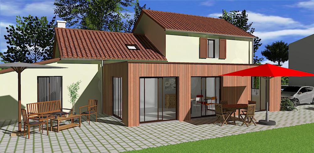 projet 3d d 39 une extension de maison en vend e catherine chappaz. Black Bedroom Furniture Sets. Home Design Ideas